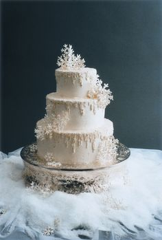 Amazing snow flake cake for a winter wedding! Gorgeous! Check out the blog for other winter wedding decoration ideas, including: snowflakes | blanket chair covers | berries | pine cones | candles | feathers | baby's breath flowers | Christmas lights | fairy lights | sleds | stocking silverware pockets | sweater vases | crystals | wedding planning | wedding ideas | winter decor | www.templesquare.com/weddings/blog