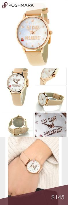🖤 S A L E 🖤 Kate Spade Eat Cake For Breakfast Rose gold tone stainless steel case with a vachetta leather strap. Fixed rose gold-tone bezel. Mother of pearl dial, scratch resistant mineral crystal, 34 mm, case thickness 7 mm, band width: 16 mm, water resistant at 100 ft. Brand new in original box.                            🐣n o • t r a d e s🐣                    s m o k e • f r e e • h o m e             s a m e/n e x t • d a y • s h i p p i n g kate spade Accessories Watches