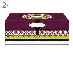 Set de 2 cajas de cartón con cierre de imán Suzani - multicolor