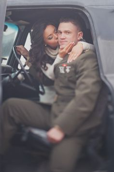 Gorgeous interracial military couple engagement photography #love #wmbw #bwwm