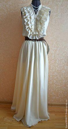 """Купить Платье """"Шампань"""". - однотонный, шифон, подклад, оборки, юбка в пол, юбка длинная"""