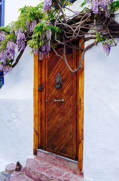 Ozdoba wejścia - drzewo bez - drzwi i okiennice, Hydra, Greece