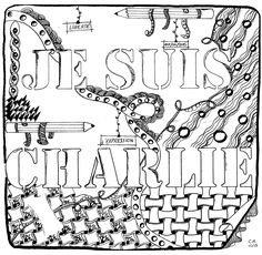 Free coloring page coloring-cathym17. 'Hommage to Charlie Hebdo', exclusive coloring page by Cathy M See the Facebook page See the original work