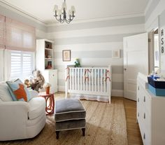 light stripes all around the room works for a nursery! - could paint white stripes with the existing light grey green color for our future nursery