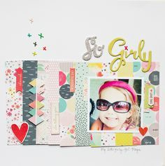 So Girly layout using strips of 6x6 paper