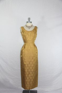 Vintage 1960's Dress   Long Formal Gold Silk Damask Cocktail Party Frock by VintageFrocksOfFancy