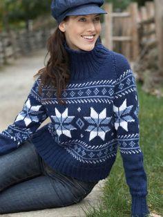 Snowflake Sweater   Yarn   Free Knitting Patterns   Crochet Patterns   Yarnspirations