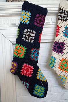Transcendent Crochet a Solid Granny Square Ideas. Inconceivable Crochet a Solid Granny Square Ideas. Crochet Stocking, Christmas Stocking Pattern, Christmas Crochet Patterns, Holiday Crochet, Christmas Stockings, Crochet Quilt, Crochet Home, Knit Or Crochet, Crochet Granny