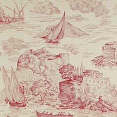 Papel pintado Toile de jouy Rochefort rojo