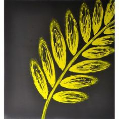 """Nature-inspired wall art with a contemporary palm frond on a gray background.   Product: Wall artConstruction Material: Canvas and wood  Features:  Nature-inspired Dimensions: 40"""" H x 40"""" W x 2"""" D"""