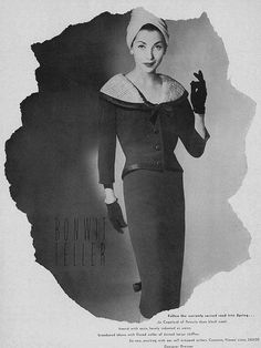 The combination of a shawl collar and turban-esque hat is really eye-catching. #vintage #fashion #1950s #dress #hat