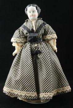 "1860 11"" Antique German Black Hair Flat Top China Head Doll High Brow TLC | eBay"