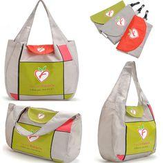 Venta al por mayor moda de comercio exterior Portable respetuoso del medio ambiente de compras de Nylon bolso plegable del bolso de almacenamiento a prueba de agua de mano