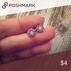 Delicate pink studs Tiny light pink crystal studs Jewelry Earrings