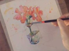 How to Draw and Paint in Watercolour - 2 Red Flowers