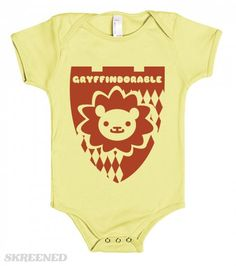 """Let the whole clan know that your baby is adorable with the """"Gryffindorable"""" onesie. Printed on American Apparel Baby One Piece"""