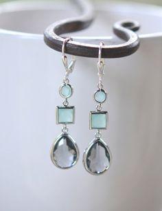 Charcoal Teardrop and Aqua Jewels Geometric Drop by RusticGem, $32.00