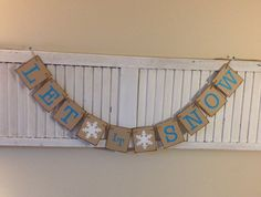 Let it Snow Banner Sign Bunting Garland Aqua by EncoreBanners