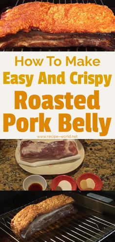 How To Make Easy And Crispy Roasted Pork Belly Thit Heo Quay - Schweinsbraten Pork Belly Recipe Oven, Roasted Pork Belly Recipe, Pork Belly Roast, Pork Roast In Oven, Bbq Pork, How To Roast Pork, Crispy Pork Belly Recipes, Roast Recipes, Cooking Recipes