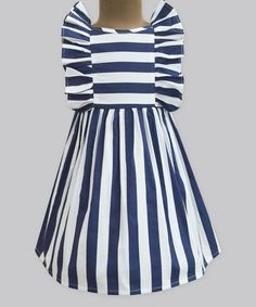 This Navy Stripe Flutter-Sleeve Dress - Infant, Toddler & Girls is perfect! #zulilyfinds