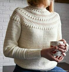 Crochet Sweater Pattern, Sweater Top Down, Pdf Pattern, Stroll Sweater - Crochet Moda Crochet, Pull Crochet, Easy Crochet, Knit Crochet, Pullover Design, Sweater Design, Pullover Pullover, Pullover Sweaters, Drops Baby