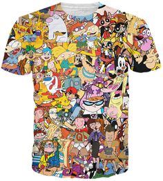 This Totally '90s t-shirt is a must-have for millennials. The shirt  features some of the best 90s cartoons such as: Rocko's Modern Life, Doug, Pokemon, The Rugrats, and Animaniacs.