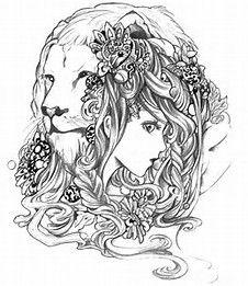 Beautiful Lady And Majestic Lion