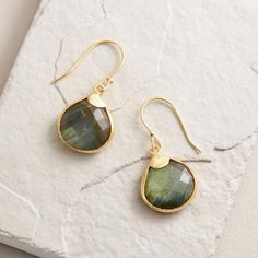 One of my favorite discoveries at WorldMarket.com: Small Gold Labradorite Teardrop Earrings