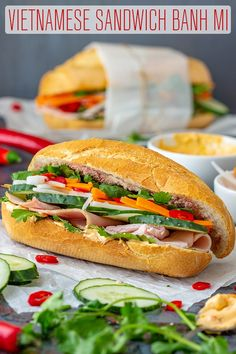 If you havent tried Vietnamese Sandwich Banh mi yet then here is your chance. French-style baguette is packed with fresh and pickled vegetables cilantro and cold cuts of your choice. via Happy Foods Tube What Is Healthy Food, Healthy Foods To Make, Healthy Food List, Easy Healthy Breakfast, Healthy Eating Recipes, Lunch Recipes, Sandwich Recipes, Sandwich Ideas, Pork Recipes