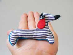 Sausage Dog Brooch*Ready For A Walk*Dod With Stripes*Dachshund Pin*Animal Fabric Brooch* Fabric Brooch, Dachshund, Yogurt, Sausage, Greece, Stripes, Unique Jewelry, Handmade Gifts, Dogs