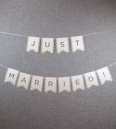 White Just Married Banner  by Alexis Mattox Design on Scoutmob Shoppe