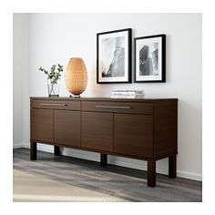 IKEA - BJURSTA, Sideboard, brown, , The doors have no knobs or handles, but open by applying light pressure.2 smooth-running drawers with ball-bearing slides and pull-out stop.2 adjustable shelves; adapt spacing to your storage needs.