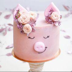 Pretty Cakes, Cute Cakes, Piggy Cake, Pig Birthday Cakes, Animal Cakes, Crazy Cakes, Cute Desserts, Dream Cake, Cake Shop