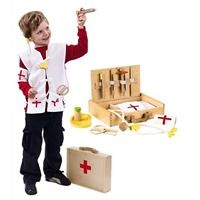 8-Piece Wooden Pretend Play Doctor%27s Kit with Storage Case