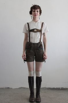 Vintage Lederhosen . Harness . Suede Shorts . Made in Germany . Mountain Wear. $240.00, via Etsy.