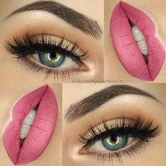 makeup @georgiarosex : warm everyday smokey eye, lots of lashes, pink lips, highlight accentuating the cupid's bow | love the beige on the lower waterline