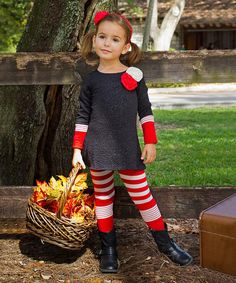 Mia Belle Baby Black & Pink A-Line Tunic & Stripe Leggings #zulilyfinds #ministyle