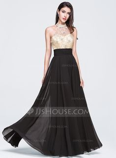 A-Line Princess High Neck Floor-Length Beading Sequins Zipper Up Strapless  Sleeveless No 2015 Champagne Spring Summer General Plus Chiffon Prom Dress da6733bd1951