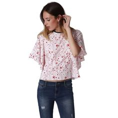 Relaxed Angel Sleeve Top In Red Star Print – MsBlueSleeve