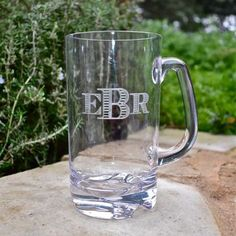 Custom Non-Breakable Clarus Beer Mugs- Set of 6 (84.95). Fabulous for pool parties and tailgates! Choose from tons of fonts, monograms and borders to be etched onto the mugs for a high quality custom look.