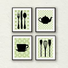 Modern Kitchen Wall Decor - Utensils, Teapot, Teacup Silhouette - Set of 4 8x10 prints. $45.00, via Etsy.