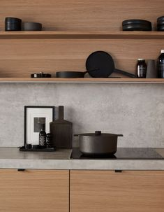 Amfi Eik Interior Concept, Interior Design, Scandinavian Home, Lotta, Small Apartments, Kitchen Interior, Home Kitchens, Floating Shelves, Minimalist