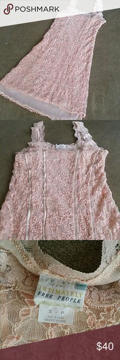 FREE PEOPLE Lace Slip Dress This is so gorgeous and oo la la! Delicate pink lace over a sheer pink fabric with ribbon detail.  Lace straps that are soft and comfortable.  Sz small and TTS  Gently worn and in Gorgeous condition  BUNDLE TO SAVE Free People Dresses Mini