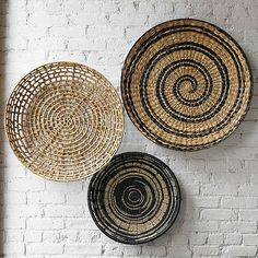 Baskets... On the wall. Nice for a kitchen, entrance, dinning and living room.