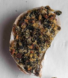 Baked Oysters with Bacon and Spinach: a lighter twist on classic oysters Rockefeller from chef Frank Stitt of Highlands Bar and Grill in Birmingham, Alabama. Seafood Stew, Seafood Dishes, Fish And Seafood, Seafood Recipes, Cooking Recipes, Healthy Recipes, Fish Recipes, Healthy Meals, Seafood