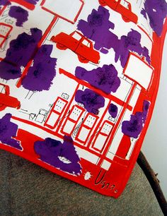 Red and purple cars Vera scarf