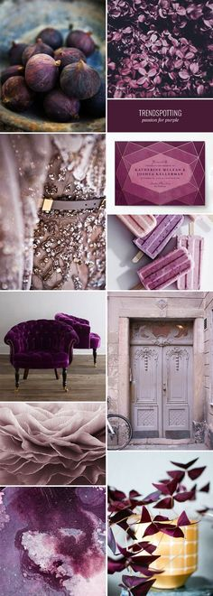 The purple color trend for 2016 stationery and paper goods, including shades that range from deep plum to dusty mauve.