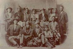Osage Delegation 1873 Standing L-R: Sam Bevenue (Osage), White Hair (Osage), Saucy Chief (Osage), No-pa-wala (Osage), Enoch Hoag (Superintendent of Indian Affairs), Che-to-pa (Osage), Big Elk (Osage), Issac Gibson (U.S. Indian Agent) Sitting middle row L-R: Taw-wan-ge-he (Osage), Ke-neu-in-ka (Osage), Kon-se-ah-le (Osage), Ne-kah-ke-ka-ne (Osage), George Beaver (Osage) Sitting front row L-R: Augustus Captain (Osage/French), Strike Axe (Osage), Mo-Shon-Ko-She (Osage), Lame Doctor (Osage)