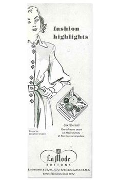 ButtonArtMuseum.com - La Mode ad circa 1930 from Blumenthal Lansing Co. (email from www.buttonlovers.com)