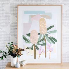 Coastal Banksia Print by leah bartholomew Collage Kunst, Australian Flowers, Australian Desert, Australian Animals, Greenhouse Interiors, Australian Artists, Textiles, Canvas Artwork, All Print